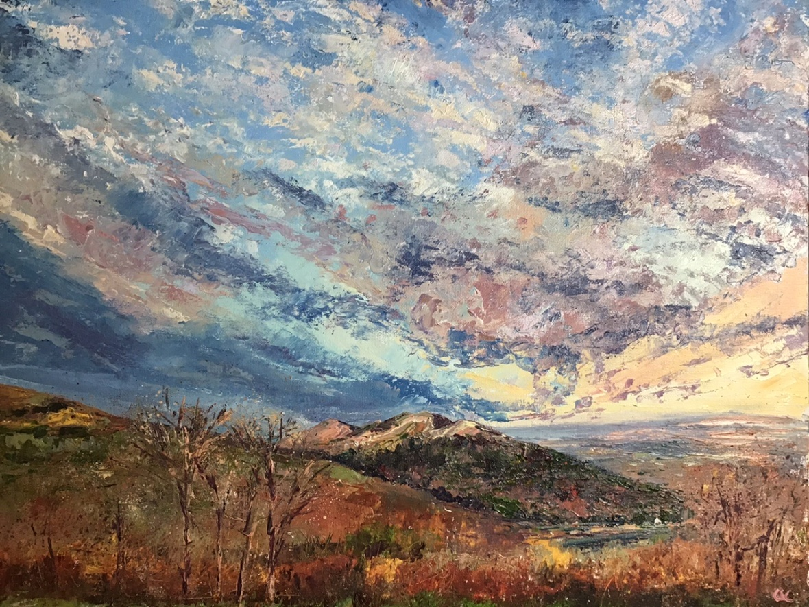 Autumn colours, Malverns, oil painting by Anna Cumming