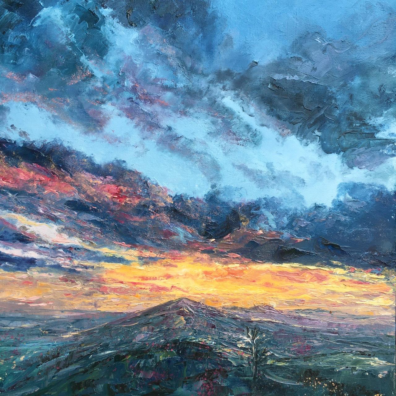 Malverns lockdown sunset, oil painting by Anna Cumming