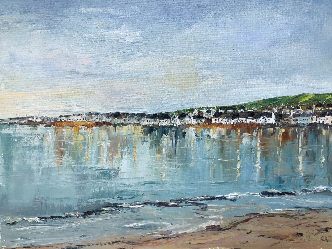 Winter solstice, Portmahomack, oil painting by Anna Cumming