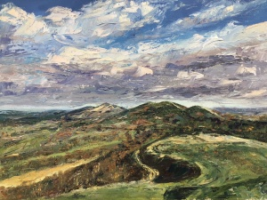 Malverns from British Camp, oil painting by Anna Cumming