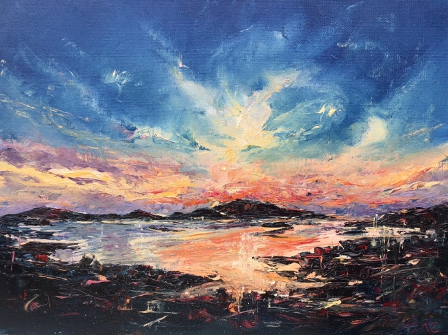 Barra sunrise, oil painting by Anna Cumming