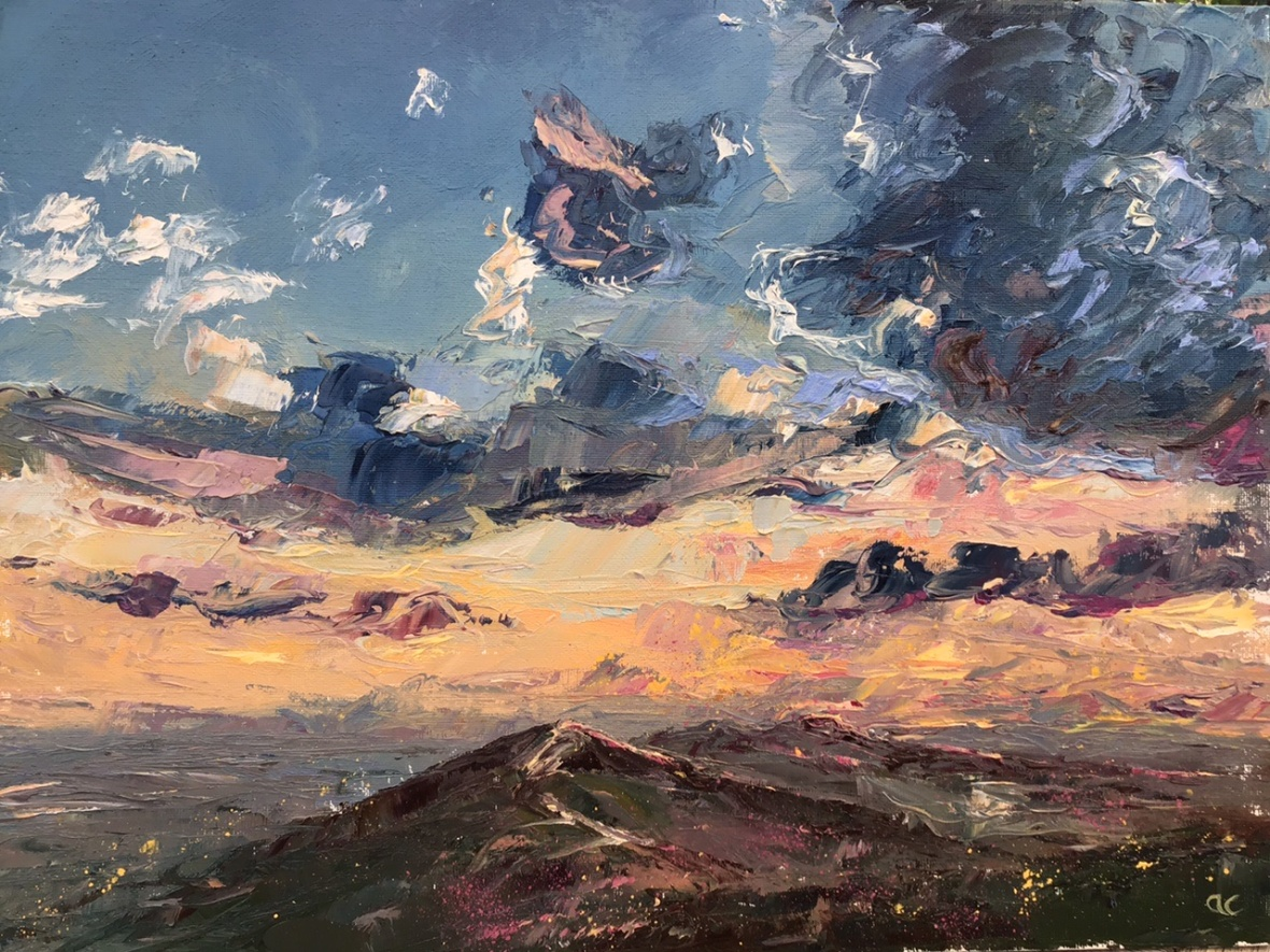 After the rain, Malverns, oil painting by Anna Cumming