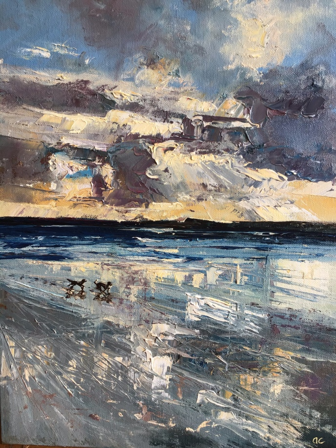 Dogs on the beach, oil painting by Anna Cumming