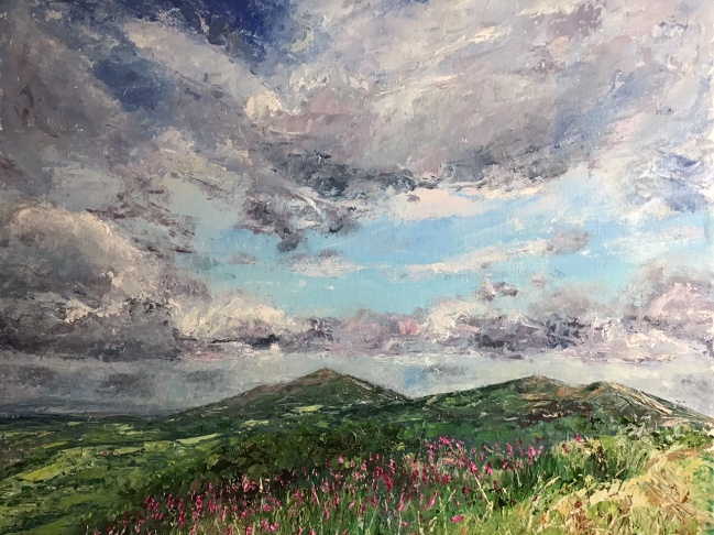 A day in June, Malverns, oil painting by Anna Cumming