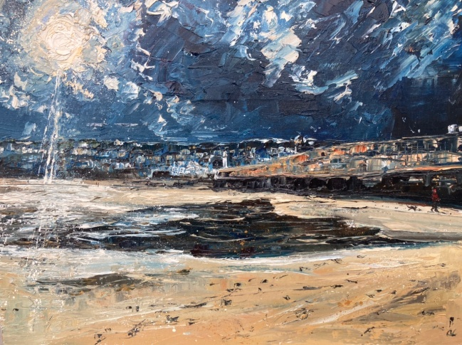 Into the winter sun, St Ives harbour, 40x50cms