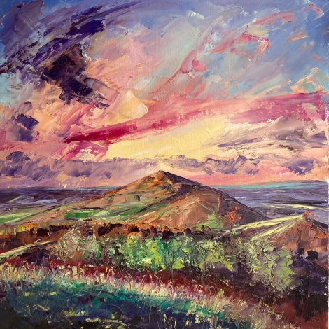 Raspberry ripple sky, Malvern Hills, 50cm sq