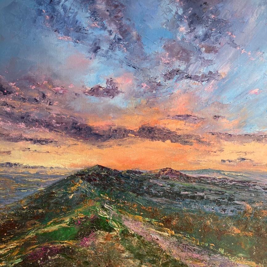 Violet clouds, Malverns, 50cm sq
