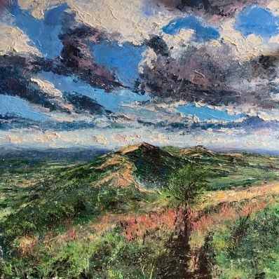 Dodging the showers, looking south from Summer hill, 50cm sq