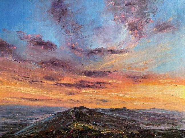 Summer hill sunset, 40x50cms